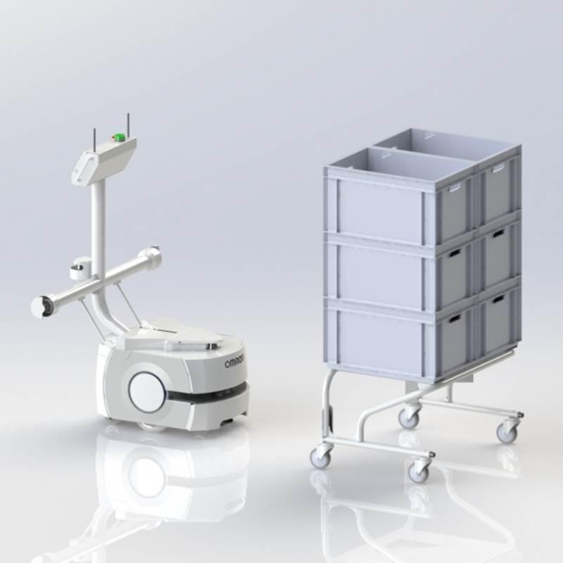 Omron LD mobiilirobotti Cart Transporter -lisälaitteella