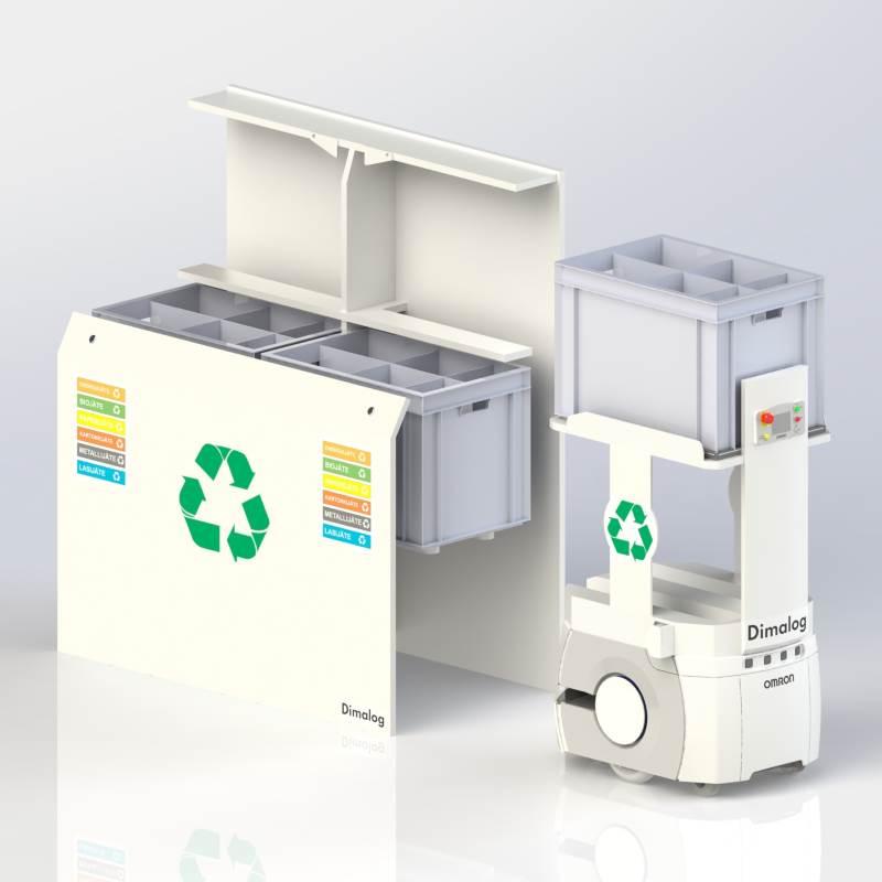 Omron LD Mobile Robot and waste sorting station
