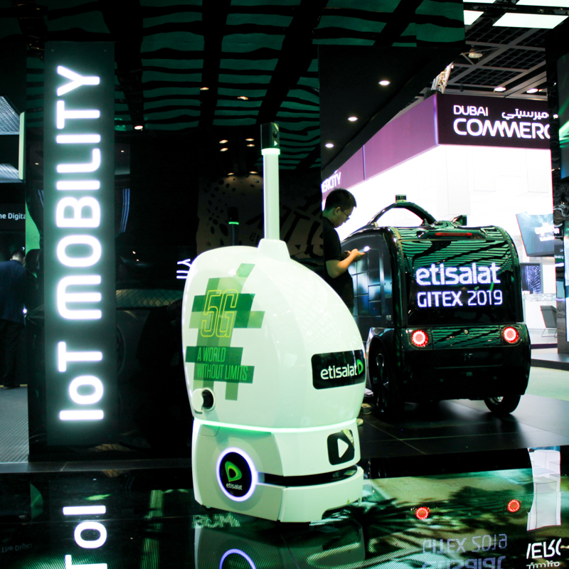 Dimalog 5G mobile robot at Etisalat's stand at Gitex 2019 in Dubai